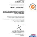 ActioNet Certification for ISO 20000