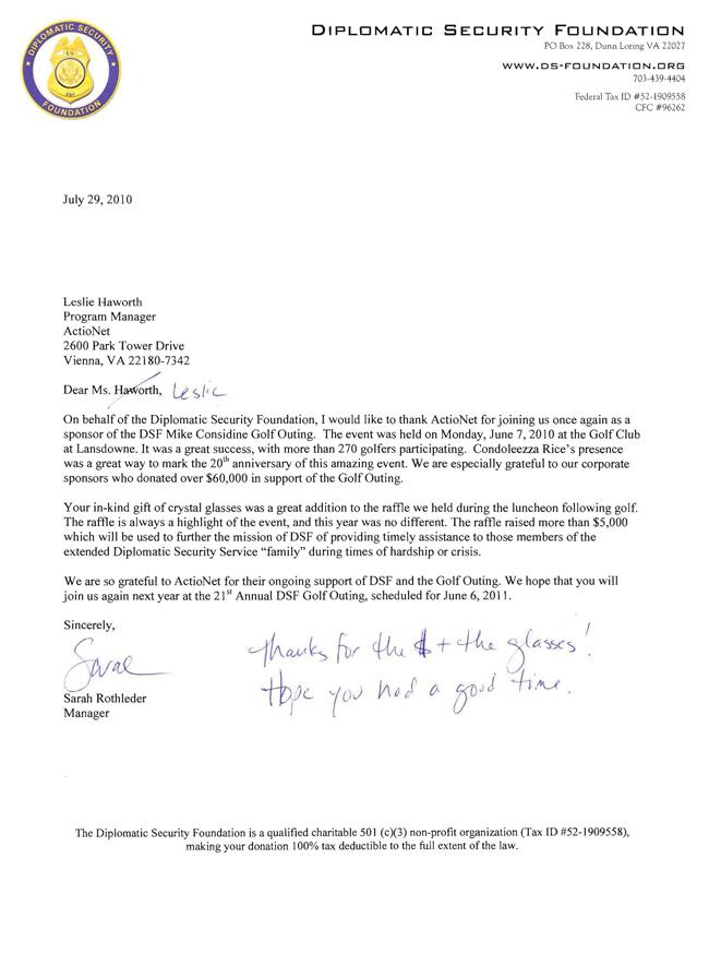 DSF Golf Letter