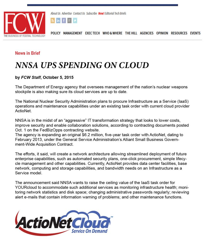 ActioNet Featured in FCW for Cloud Services Offerings
