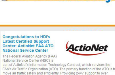 HDI's Latest Certified Support Center: ActioNet FAA ATO National Service Center