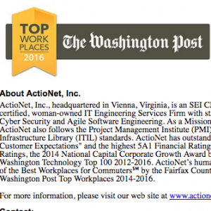 ActioNet Named Washington Post Top Workplaces, 3rd Year in a Row