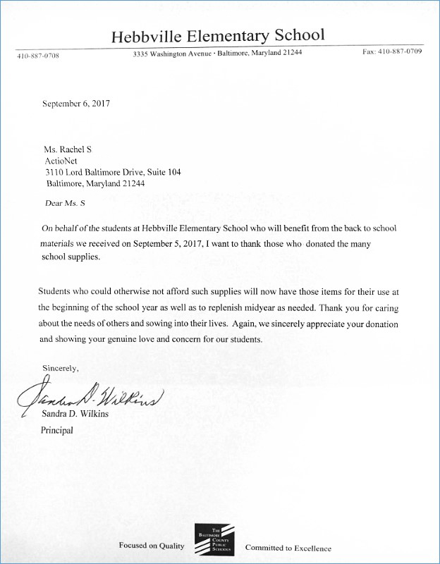 Thank you letter from the principal of Hebbville Elementary School