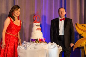 Founder Ashley Chen and CAO Jeff Abish cut the 20th anniversary cake