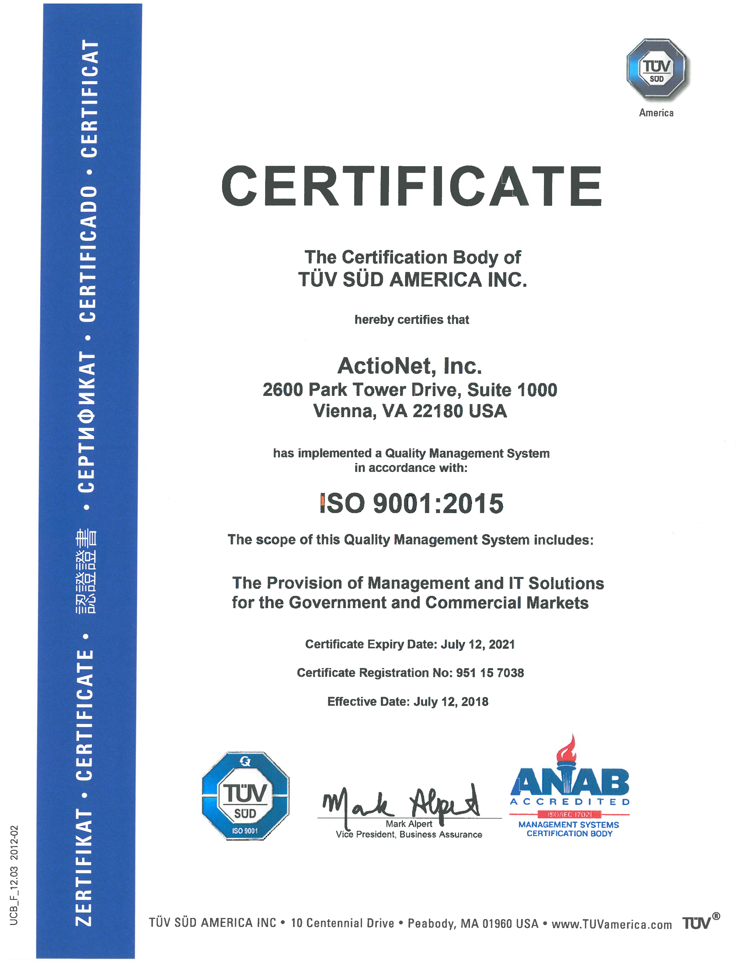Actionet Certifications Dc Va Quality It Solutions