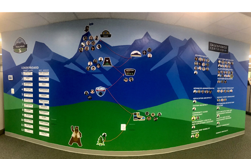 ActioNet's Salesforce Summit Wall encourages employees to further their Salesforce certifications and was integral to the Salesforce Consulting Partner Status