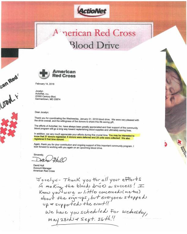 Letter of Appreciation from the American Red Cross to the ActioNet Volunteers
