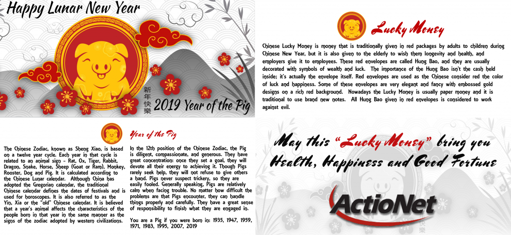 Each ActioNeter Received a Hung Bao with Information about the Holiday and Year of the Pig