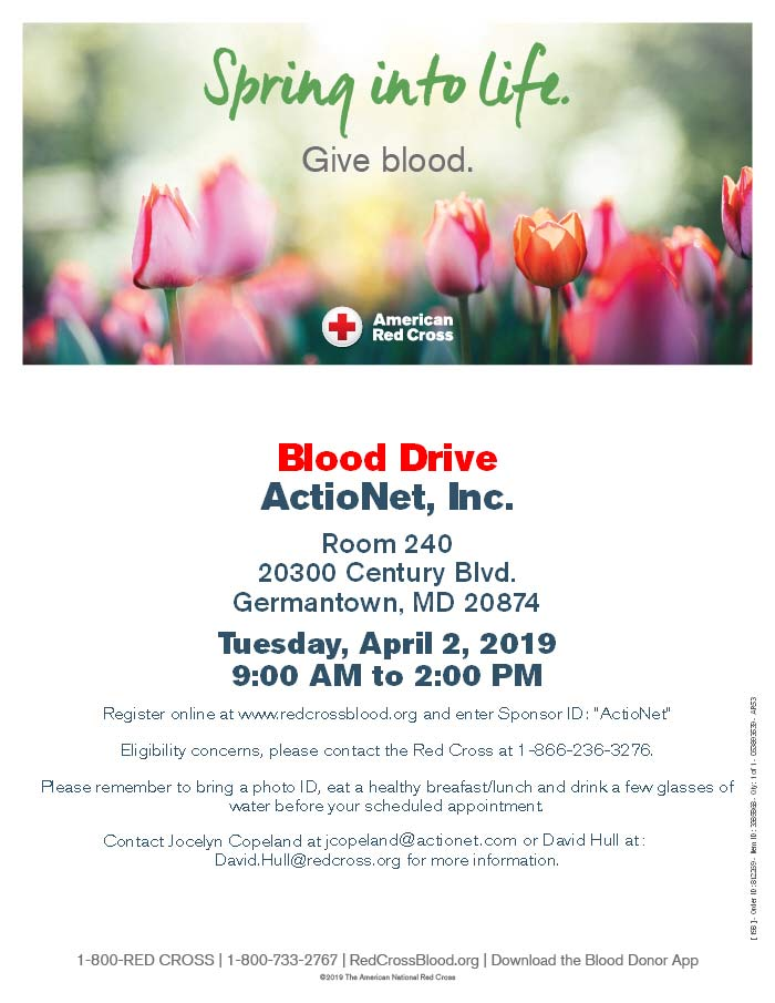 ActioNet collaborates with the American Red Cross for a Blood Drive on April 2, 2019