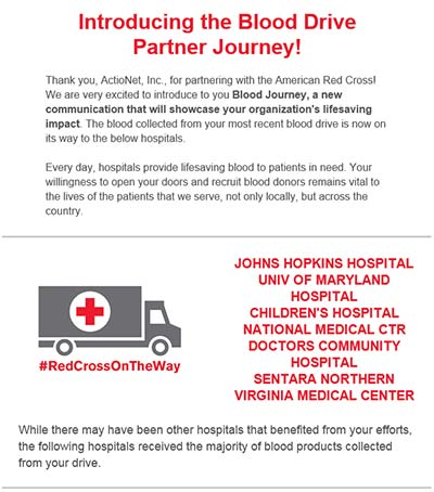 E-mail Received from the American Red Cross Documenting ActioNet's Blood Drive Journey