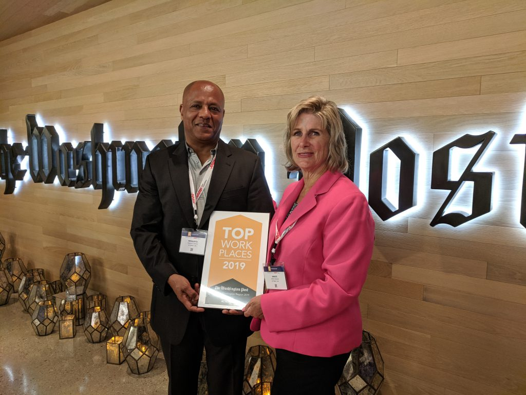 ActioNeters Janice and Mengie Accepted the 2019 Top Workplaces award for ActioNet