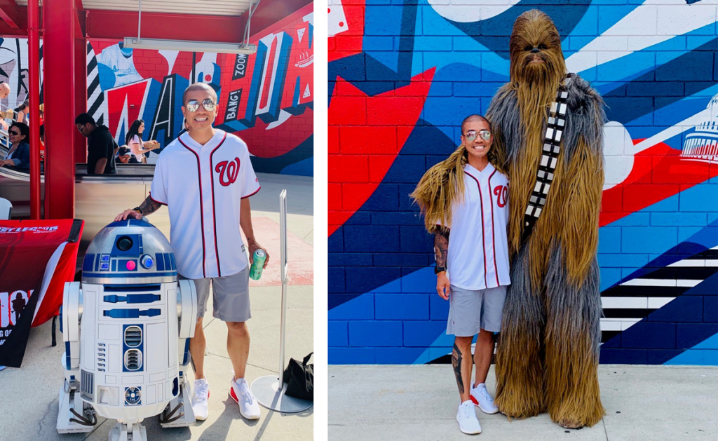 Bobby Tran in the Stadium with R2-D2 and Chewbacca