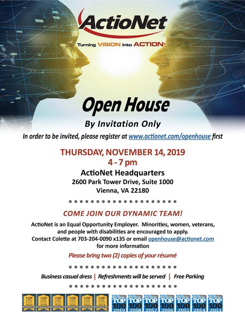 ActioNet Open House Flyer November 2019