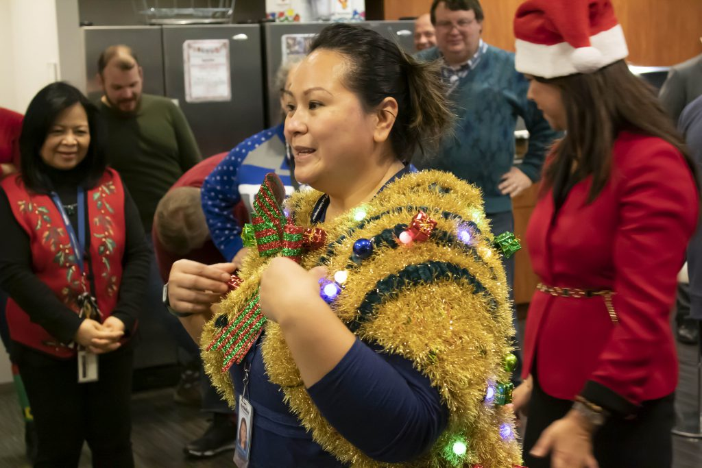 Winner Maricar with her Handmade Ugly Sweater