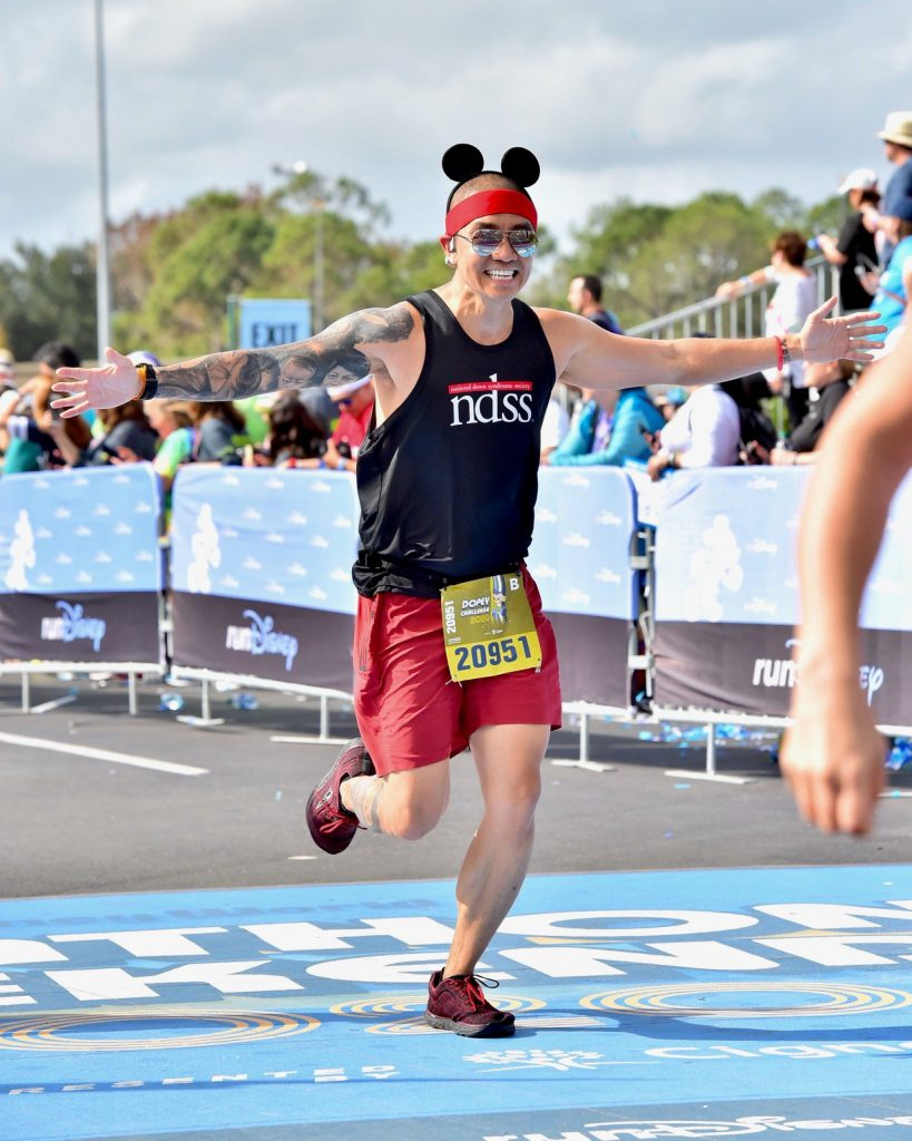 Bobby finishing Walt Disney World Marathon for Team NDSS this January