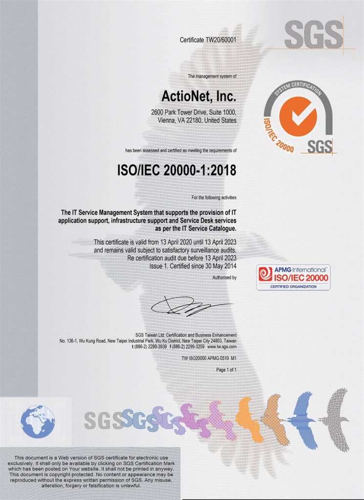 ActioNet ISO 20000-1:2018 Certification document