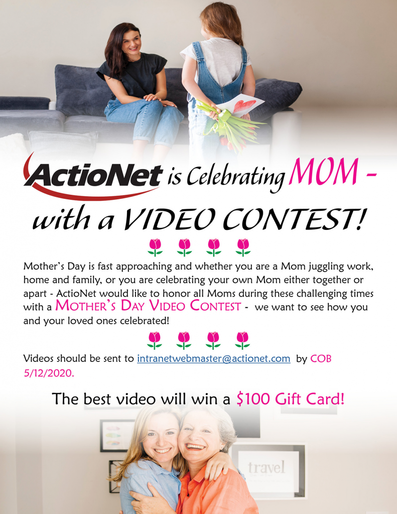 ActioNet Celebrating Mom with a Video Contest flyer