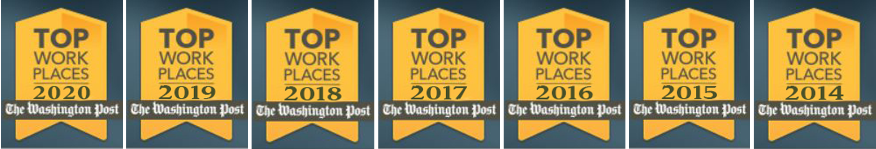 ActioNet Top Workplaces Banner for the past 7 years
