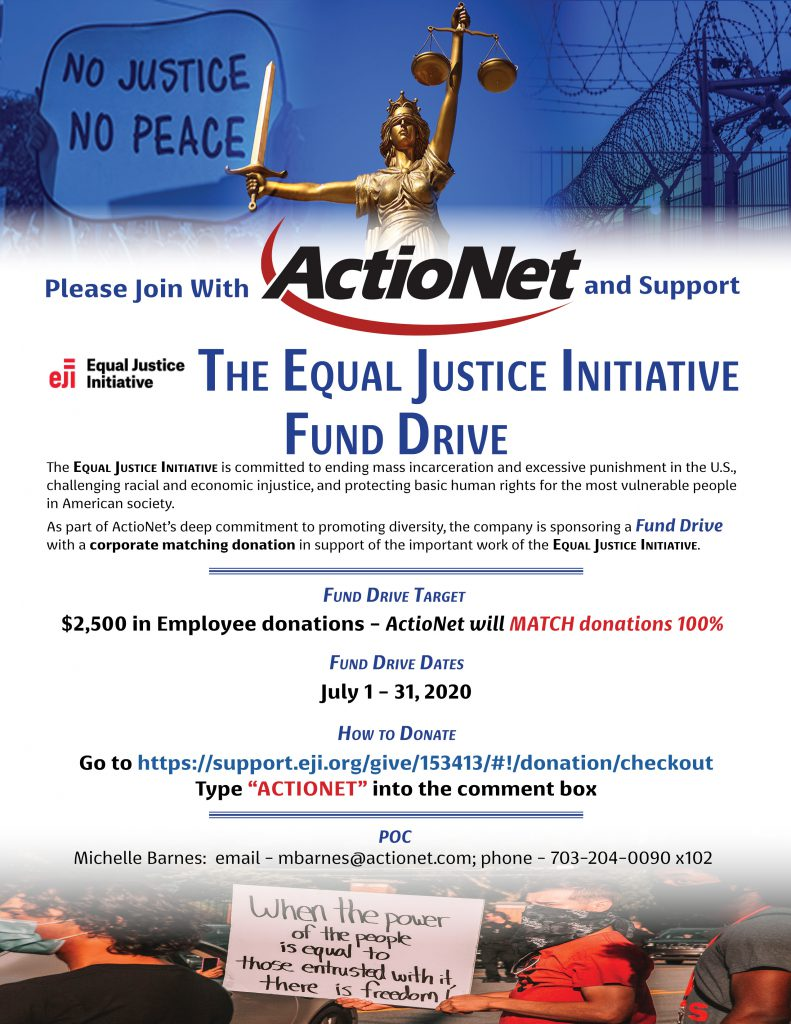 ActioNet Supports the EJI with a 2020 Fund Drive