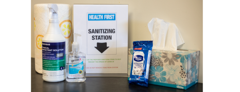 A photograph of one of ActioNet's Sanitation Stations