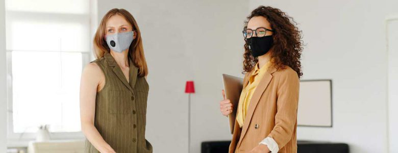 Employees wearing masks in the workplace