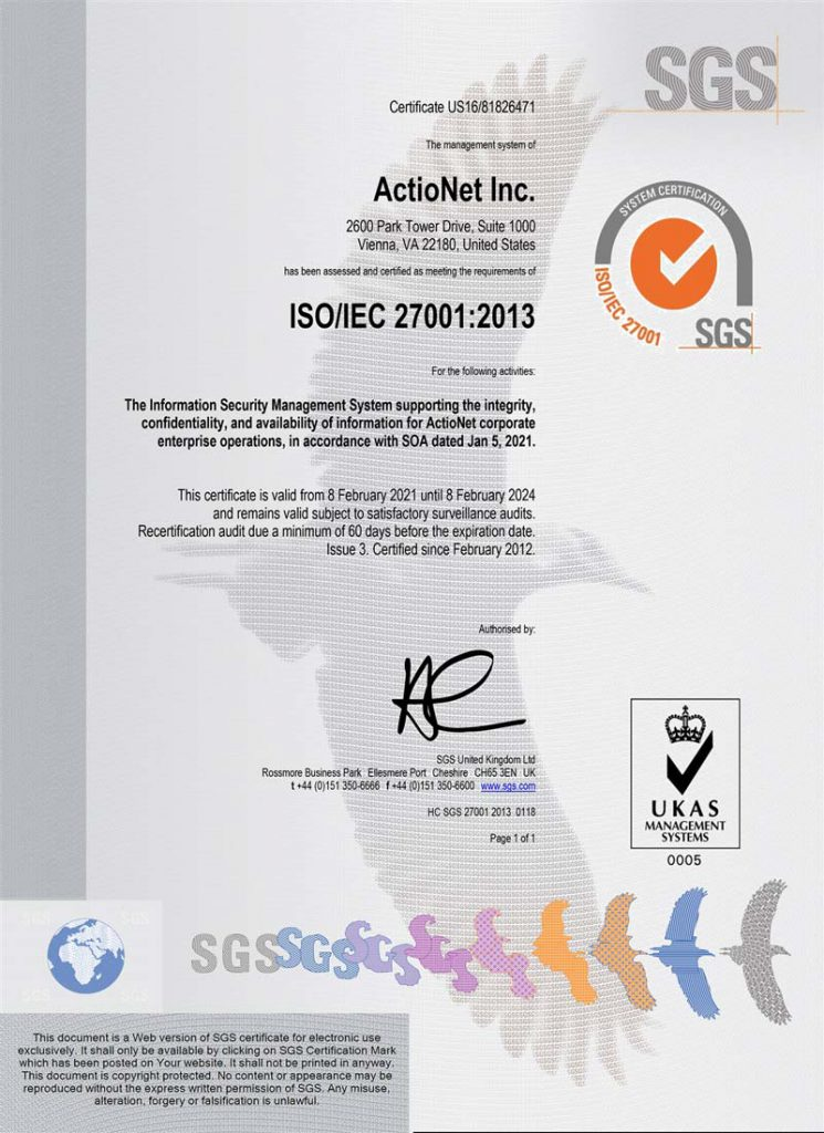 ActioNet ISO 27001:2013 Certification