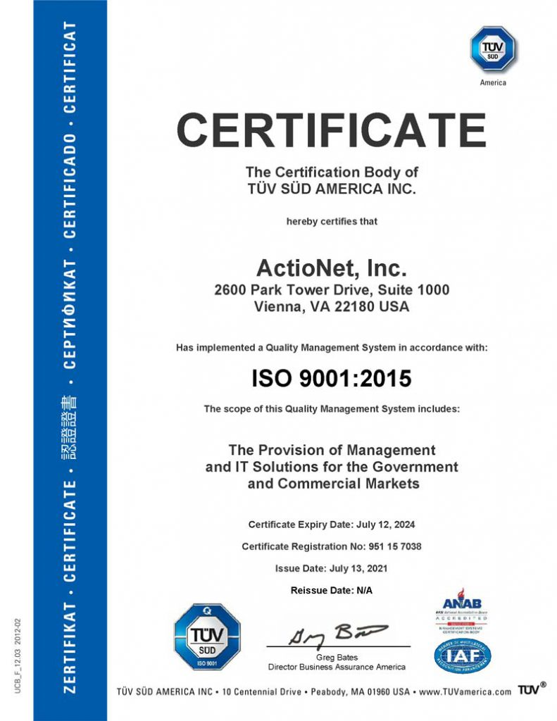 ISO 9001 Certification for ActioNet