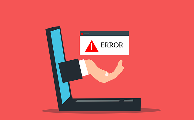 Error message appearing on a computer