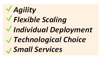 Image listing the Benefits of Microservices